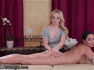 Karlee Grey Gives her huge-titted massagist a glad completing!