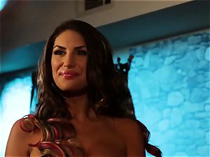 August Ames and Lily Cade strap on bed orgy