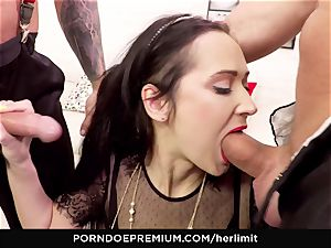 HER limit Dark haired dame hardcore dp poking