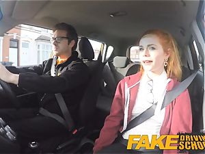 faux Driving school super-cute red-haired Ella Hughes pulverizes