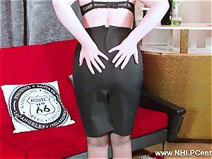 super-steamy stunner peels off black undergarments milks in nylon garter
