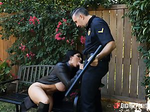 buxomy flasher Romi Rain rails strung up police officer