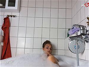 My sloppy leisure activity - tatted honey strokes in bathtub