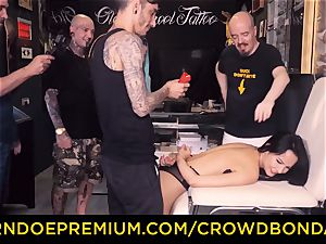 CROWD bondage - domination & submission first-ever time experience for latina