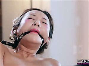 white dame watches as her black gimp punishes chinese maid