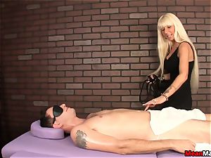 blonde masseur Agrees To stiffy rubdown On Her Terms