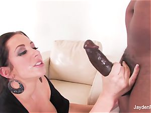 chesty babe Jayden takes a ginormous dark-hued hard-on from Mr Marcus