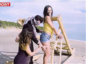 LETSDOEIT - superstars tear up a fortunate dude at the Beach