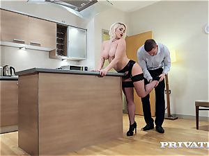 Private.com huge-chested Victoria Summers tears up in stockings