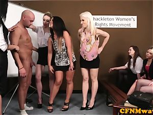 CFNM femdoms demeaning spunk-pump in gang