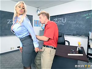 teacher Bridgette B gets her student to cum on her big-chested milk cans