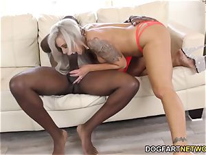 buxomy cougar Nina Elle dumps On Mandingo's big black cock