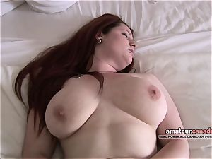 Canadian porno first-timer fingers pussy enormous natural knockers
