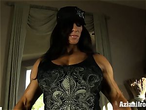Muscle trussed mummy uses her glass faux-cock till she ejaculates