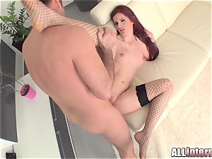 Tall gal Mira's labia is pulverized and packed with jizz