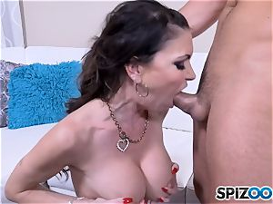 Jessica Jaymes wedges hard trouser snake into her super-steamy mouth