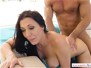 Rachel Starr juggles her wet gash on Johnnys rock hard man-meat