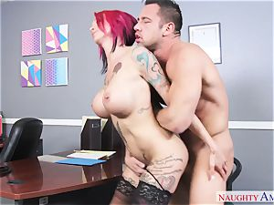 huge-titted crank dame with enormous knockers gets porked on the office desk