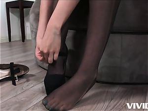 super-naughty Melissa Moore hops On A ample dark-hued fuckpole