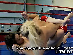 sapphic cage fighting and hardcore rectal act