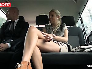 poked In Traffic - scorching Czech blonde porks in the car