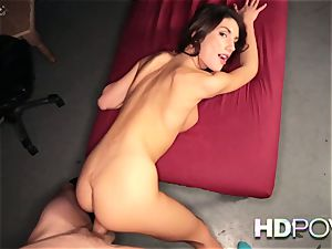 HD point of view super-hot dark-haired with enormous tits enjoys to juggle manmeat