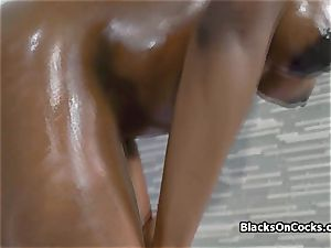 big-boobed black sweetheart Lola lubed to suck jizz-shotgun