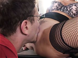 unloading dark haired Veronica Avluv slit slammed and fisted
