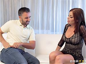 black-haired Britney Amber gets an unexpected man-meat filling