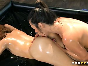 Oily massage act with Ariella Ferrera and Adessa Winters