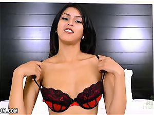 Sophia Leone in sizzling crimson underwear