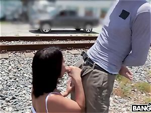 Adriana Chechik - Public analed and drizzling under city bridge