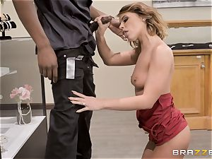 Adriana Chechik poked in her vagina by a ebony wood