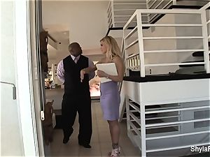 buxom real estate agent Shyla takes dark-hued salami