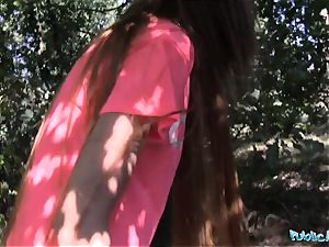 Public Agent lengthy haired babe pounded outside