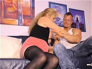 HAUSFRAU FICKEN - big-chested German mature gets jizz on fun bags