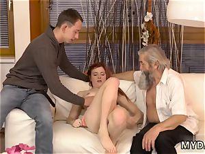fledgling nubile jizz flow on gash hard-core unexpected practice with an elderly gent