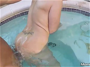Pool man buttfuck pounds a buxom cougar in her Backyard