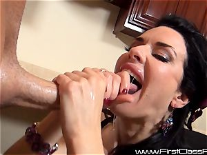 stunning milfy mommy Veronica Avluv giving scorching blow-job and recieves facial cumshot