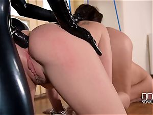 latex headmistress spandex Lucy penalizes her slave's asses