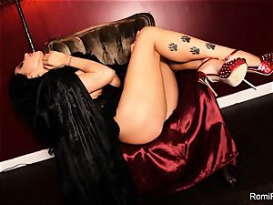 Romi the big-chested vampire has a red-hot solo session