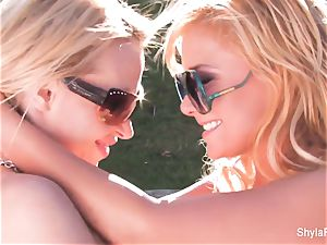 blonde babes Shyla and Nikki get together for some fun