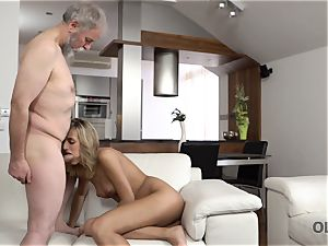OLD4K. hottie takes part in passionate fucky-fucky with handsome aged father