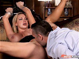 wild Nikki Benz guzzles down a huge cock