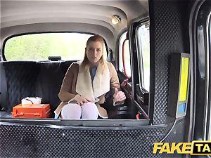 faux taxi Nurse in handsome undergarments has car fuck-fest