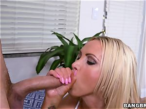 huge-boobed blonde Nikki Benz greased up and getting drilled