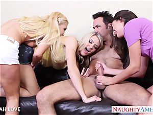 wondrous Aaliyah love boning in four way