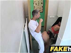 faux medical center restroom room blow-job and banging