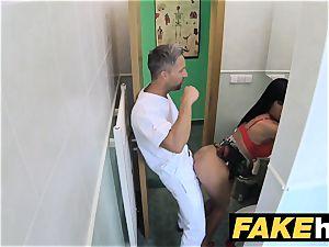 faux medical center restroom room blow-job and banging