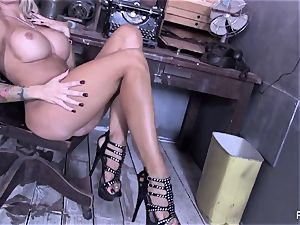 huge-titted hotty Helly Hellfire teases & thumbs her cootchie